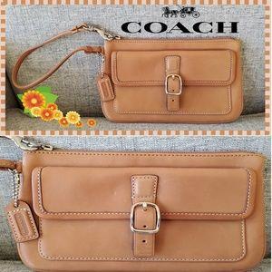 Coach Tan Smooth Leather Wristlet